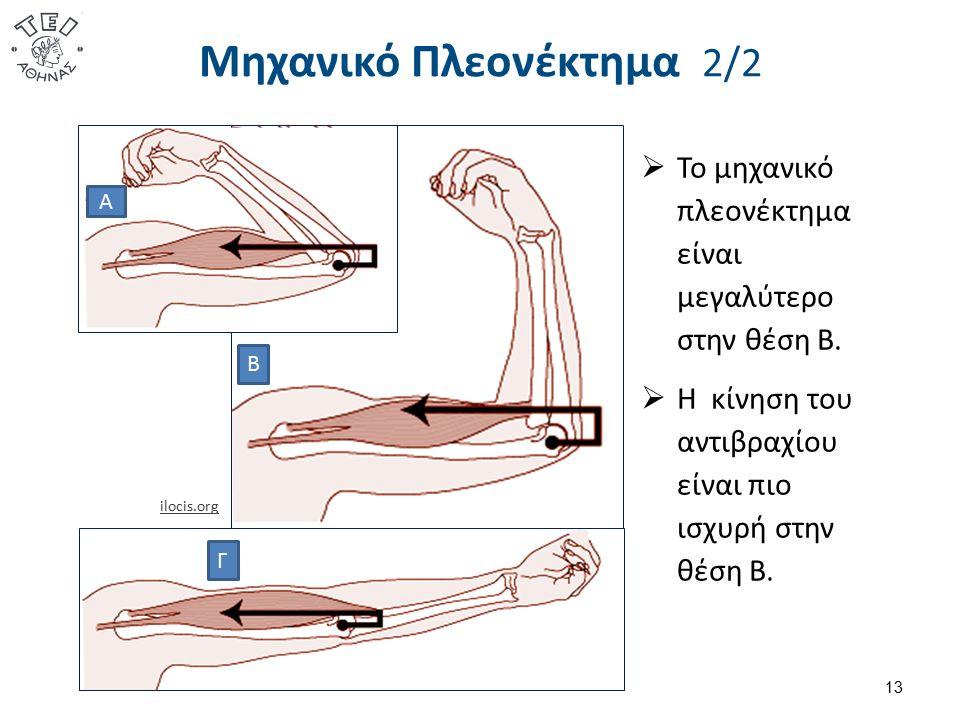 Μηχανικό Πλεονέκτημα 2/2 13 ilocis.org  Το μηχανικό πλεονέκτημα είναι μεγαλύτερο στην θέση Β.