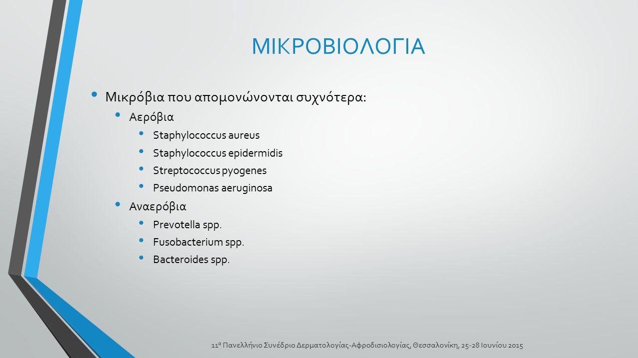ΜΙΚΡΟΒΙΟΛΟΓΙΑ Μικρόβια που απομονώνονται συχνότερα: Αερόβια Staphylococcus aureus Staphylococcus epidermidis Streptococcus pyogenes Pseudomonas aerugi