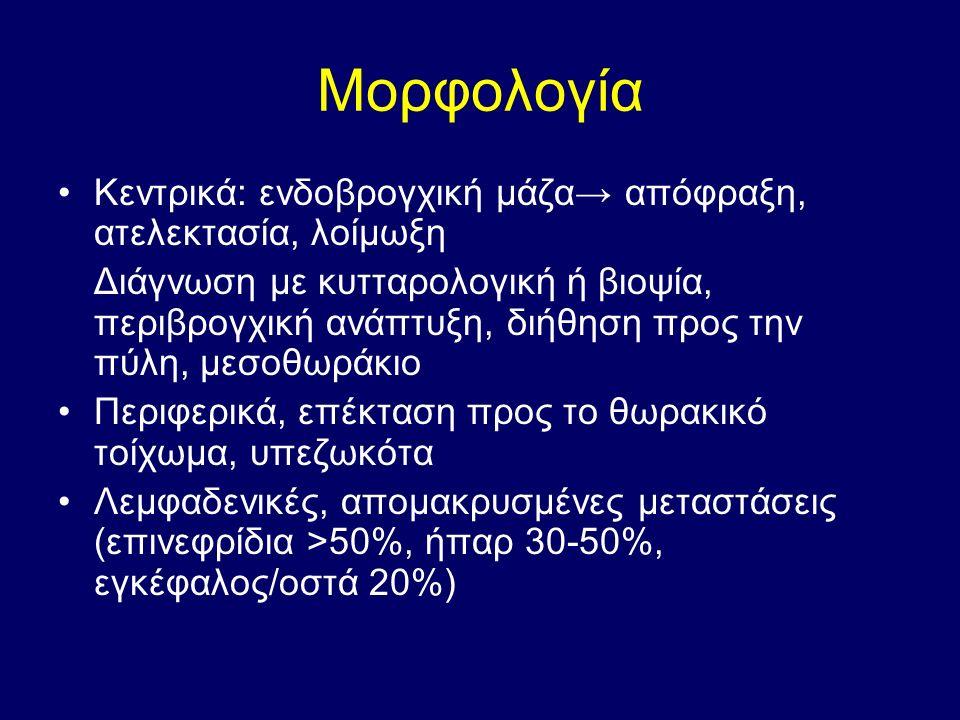 Μορφολογία Κεντρικά: ενδοβρογχική μάζα→ απόφραξη, ατελεκτασία, λοίμωξη Διάγνωση με κυτταρολογική ή βιοψία, περιβρογχική ανάπτυξη, διήθηση προς την πύλ