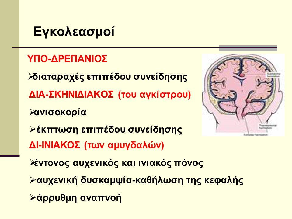Εγκολεασμοί ΥΠΟ-ΔΡΕΠΑΝΙΟΣ  διαταραχές επιπέδου συνείδησης ΔΙΑ-ΣΚΗΝΙΔΙΑΚΟΣ (του αγκίστρου)  ανισοκορία  έκπτωση επιπέδου συνείδησης ΔΙ-ΙΝΙΑΚΟΣ (των αμυγδαλών)  έντονος αυχενικός και ινιακός πόνος  αυχενική δυσκαμψία-καθήλωση της κεφαλής  άρρυθμη αναπνοή