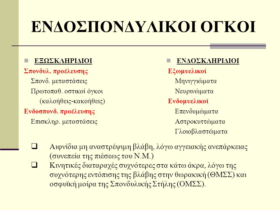 ΕΝΔΟΣΠΟΝΔΥΛΙΚΟΙ ΟΓΚΟΙ ΕΞΩΣΚΛΗΡΙΔΙΟΙ Σπονδυλ. προέλευσης Σπονδ.