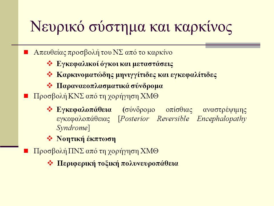 Νευρικό σύστημα και καρκίνος Απευθείας προσβολή του ΝΣ από το καρκίνο Προσβολή ΚΝΣ από τη χορήγηση ΧΜΘ Προσβολή ΠΝΣ από τη χορήγηση ΧΜΘ  Εγκεφαλοπάθεια (σύνδρομο οπίσθιας αναστρέψιμης εγκεφαλοπάθειας [Posterior Reversible Encephalopathy Syndrome]  Νοητική έκπτωση  Περιφερική τοξική πολυνευροπάθεια  Εγκεφαλικοί όγκοι και μεταστάσεις  Καρκινοματώδης μηνιγγίτιδες και εγκεφαλίτιδες  Παραναεοπλασματικά σύνδρομα