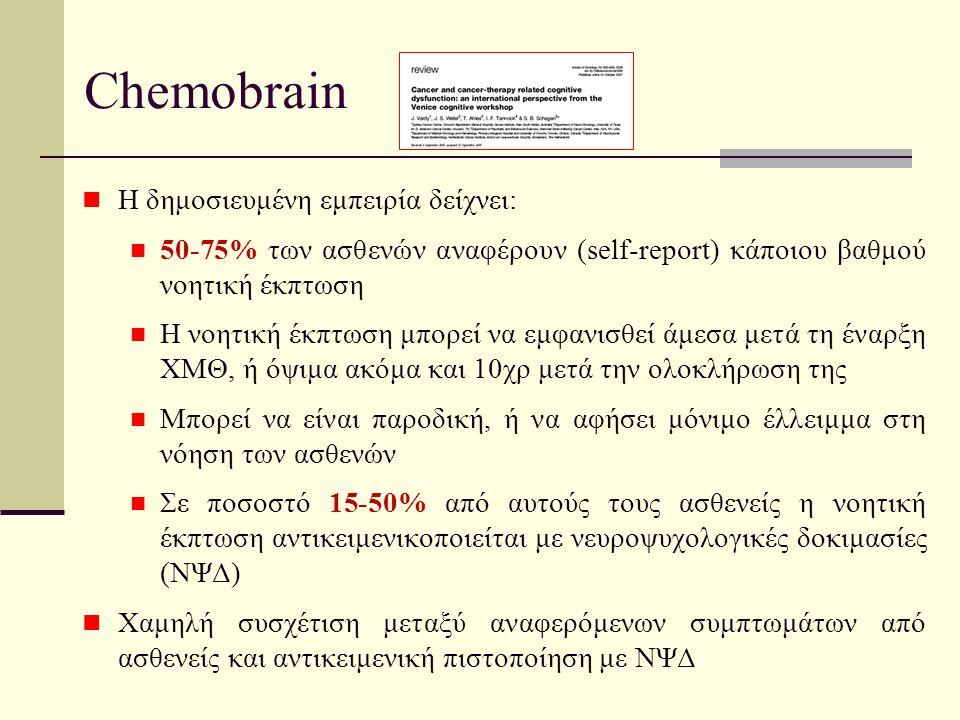 Chemobrain Η δημοσιευμένη εμπειρία δείχνει: 50-75% των ασθενών αναφέρουν (self-report) κάποιου βαθμού νοητική έκπτωση Η νοητική έκπτωση μπορεί να εμφανισθεί άμεσα μετά τη έναρξη ΧΜΘ, ή όψιμα ακόμα και 10χρ μετά την ολοκλήρωση της Μπορεί να είναι παροδική, ή να αφήσει μόνιμο έλλειμμα στη νόηση των ασθενών Σε ποσοστό 15-50% από αυτούς τους ασθενείς η νοητική έκπτωση αντικειμενικοποιείται με νευροψυχολογικές δοκιμασίες (ΝΨΔ) Χαμηλή συσχέτιση μεταξύ αναφερόμενων συμπτωμάτων από ασθενείς και αντικειμενική πιστοποίηση με ΝΨΔ