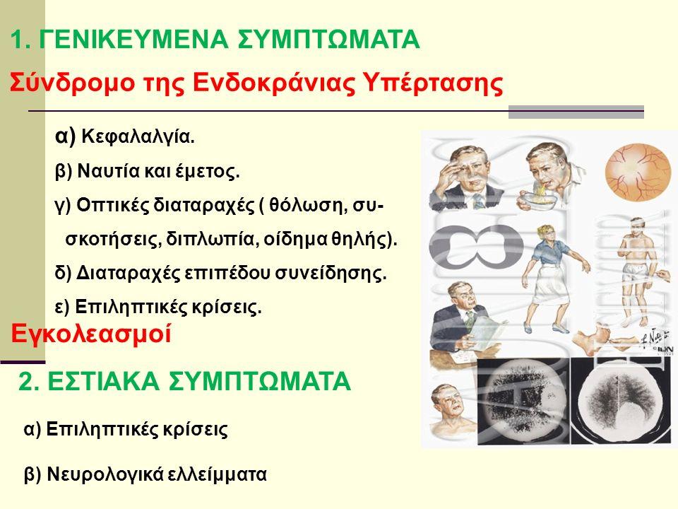 1. ΓΕΝΙΚΕΥΜΕΝΑ ΣΥΜΠΤΩΜΑΤΑ Σύνδρομο της Ενδοκράνιας Υπέρτασης α) Κεφαλαλγία.