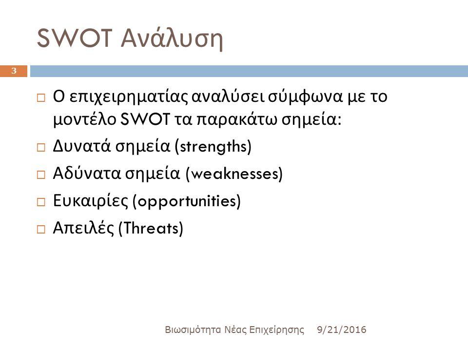 SWOT Ανάλυση 9/21/2016Βιωσιμότητα Νέας Επιχείρησης 3  Ο επιχειρηματίας αναλύσει σύμφωνα με το μοντέλο SWOT τα παρακάτω σημεία :  Δυνατά σημεία (strengths)  Αδύνατα σημεία (weaknesses)  Ευκαιρίες (opportunities)  Απειλές (Threats)