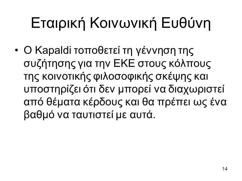 14 Εταιρική Κοινωνική Ευθύνη Ο Kapaldi τοποθετεί τη γέννηση της συζήτησης για την ΕΚΕ στους κόλπους της κοινοτικής φιλοσοφικής σκέψης και υποστηρίζει ότι δεν μπορεί να διαχωριστεί από θέματα κέρδους και θα πρέπει ως ένα βαθμό να ταυτιστεί με αυτά.