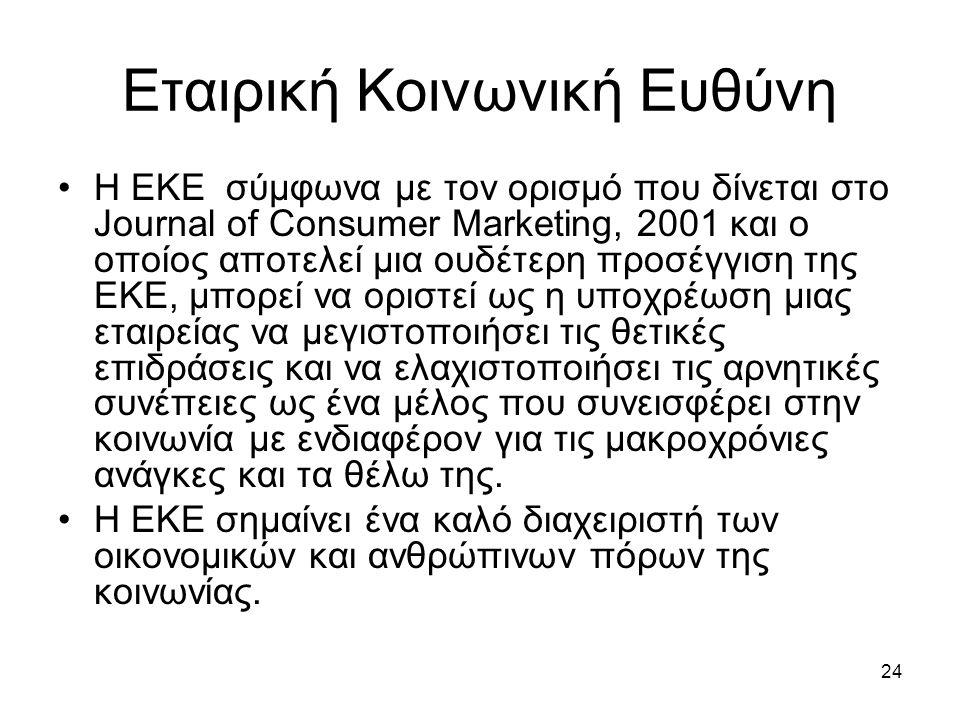 24 Εταιρική Κοινωνική Ευθύνη Η ΕΚΕ σύμφωνα με τον ορισμό που δίνεται στο Journal of Consumer Marketing, 2001 και ο οποίος αποτελεί μια ουδέτερη προσέγγιση της ΕΚΕ, μπορεί να οριστεί ως η υποχρέωση μιας εταιρείας να μεγιστοποιήσει τις θετικές επιδράσεις και να ελαχιστοποιήσει τις αρνητικές συνέπειες ως ένα μέλος που συνεισφέρει στην κοινωνία με ενδιαφέρον για τις μακροχρόνιες ανάγκες και τα θέλω της.