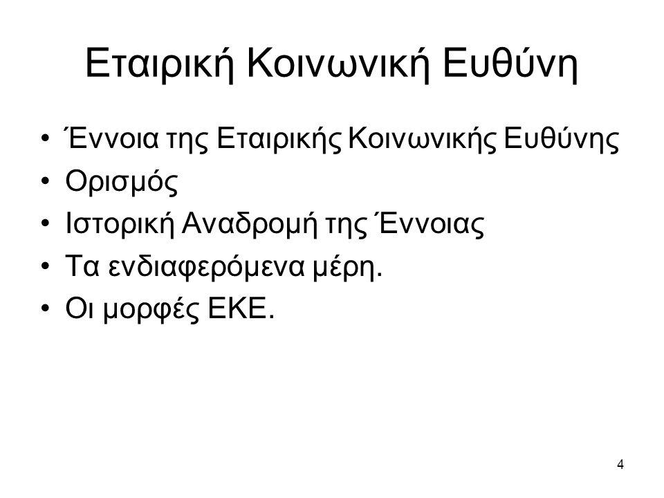 15 Εταιρική Κοινωνική Ευθύνη Οι λόγοι που η ΕΚΕ χρειάζεται να εισαχθεί στην επιχείρηση είναι ότι: Η Επιχείρηση σκιάζεται από την κλασσική φιλελεύθερη άποψη, μερικές φορές σε βάρος των μετόχων.