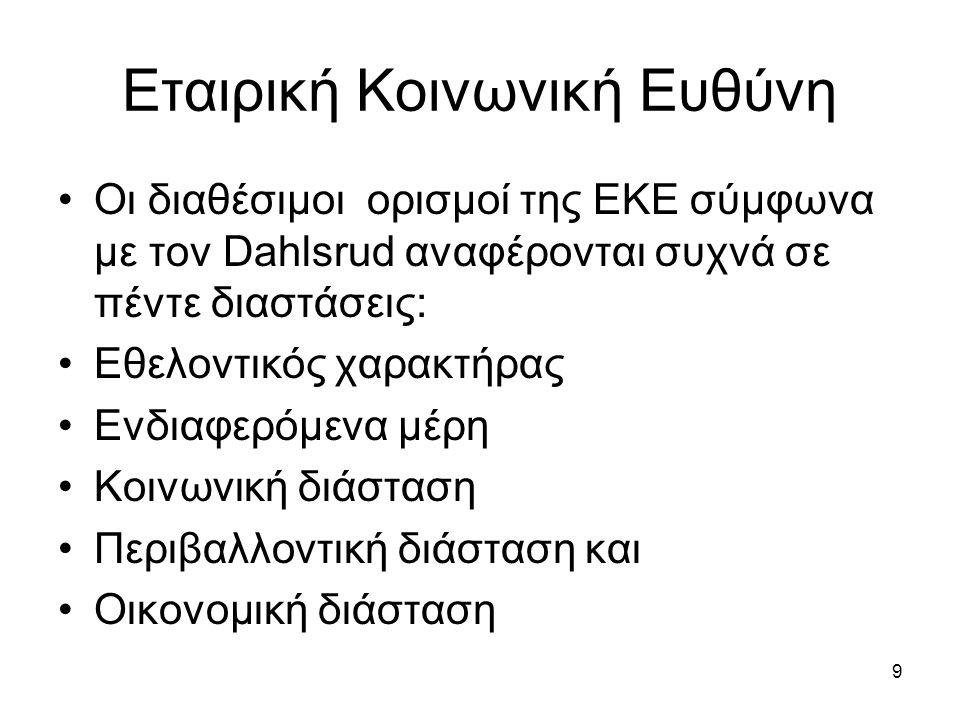 9 Εταιρική Κοινωνική Ευθύνη Οι διαθέσιμοι ορισμοί της ΕΚΕ σύμφωνα με τον Dahlsrud αναφέρονται συχνά σε πέντε διαστάσεις: Εθελοντικός χαρακτήρας Ενδιαφερόμενα μέρη Κοινωνική διάσταση Περιβαλλοντική διάσταση και Οικονομική διάσταση