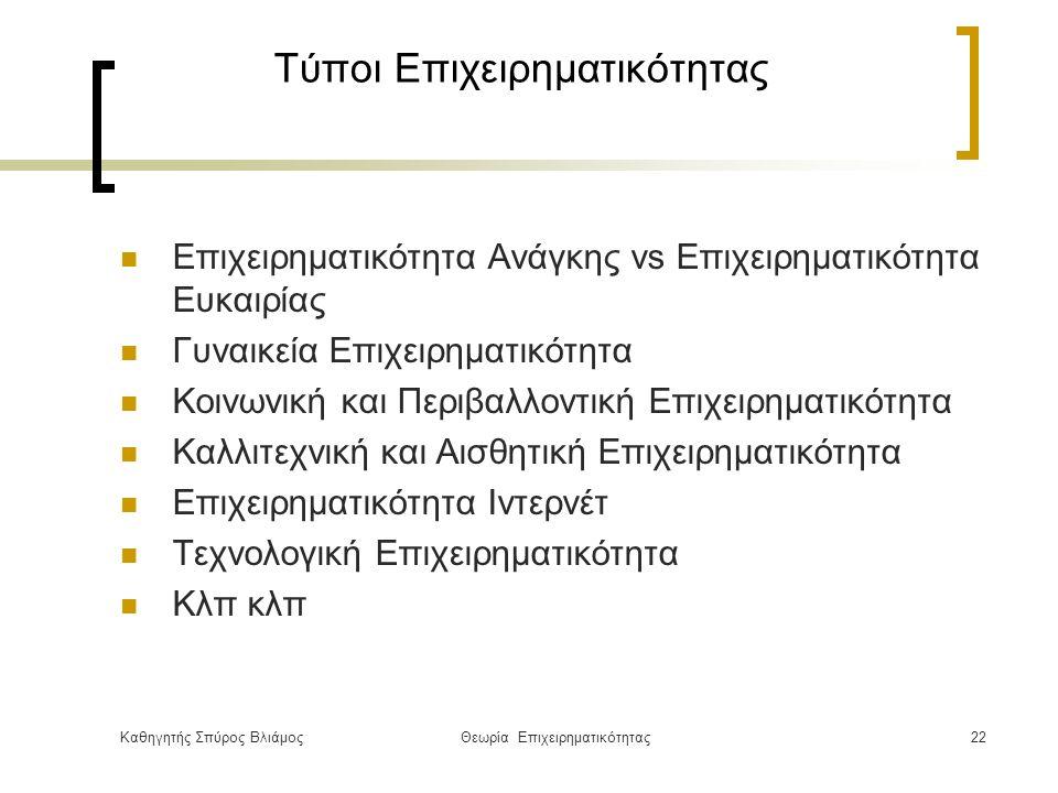 Καθηγητής Σπύρος ΒλιάμοςΘεωρία Επιχειρηματικότητας22 Τύποι Επιχειρηματικότητας Επιχειρηματικότητα Ανάγκης vs Επιχειρηματικότητα Ευκαιρίας Γυναικεία Επιχειρηματικότητα Κοινωνική και Περιβαλλοντική Επιχειρηματικότητα Καλλιτεχνική και Αισθητική Επιχειρηματικότητα Επιχειρηματικότητα Ιντερνέτ Τεχνολογική Επιχειρηματικότητα Κλπ κλπ