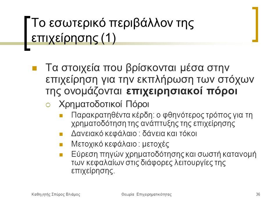 Καθηγητής Σπύρος ΒλιάμοςΘεωρία Επιχειρηματικότητας36 Το εσωτερικό περιβάλλον της επιχείρησης (1) Τα στοιχεία που βρίσκονται μέσα στην επιχείρηση για την εκπλήρωση των στόχων της ονομάζονται επιχειρησιακοί πόροι  Χρηματοδοτικοί Πόροι Παρακρατηθέντα κέρδη: ο φθηνότερος τρόπος για τη χρηματοδότηση της ανάπτυξης της επιχείρησης Δανειακό κεφάλαιο : δάνεια και τόκοι Μετοχικό κεφάλαιο : μετοχές Εύρεση πηγών χρηματοδότησης και σωστή κατανομή των κεφαλαίων στις διάφορες λειτουργίες της επιχείρησης.