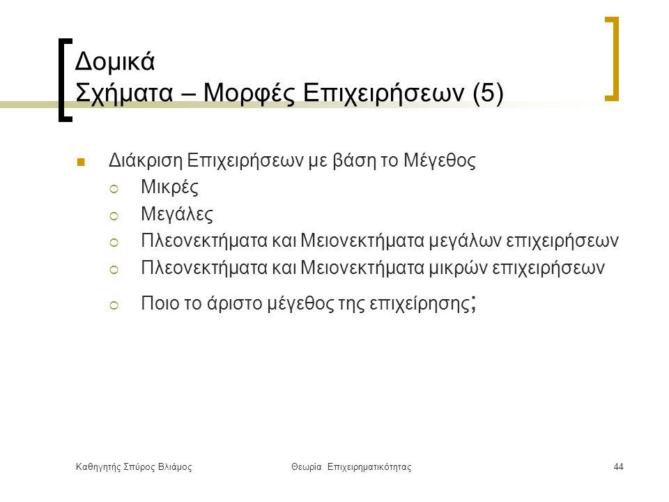 Καθηγητής Σπύρος ΒλιάμοςΘεωρία Επιχειρηματικότητας44 Δομικά Σχήματα – Μορφές Επιχειρήσεων (5) Διάκριση Επιχειρήσεων με βάση το Μέγεθος  Μικρές  Μεγάλες  Πλεονεκτήματα και Μειονεκτήματα μεγάλων επιχειρήσεων  Πλεονεκτήματα και Μειονεκτήματα μικρών επιχειρήσεων  Ποιο το άριστο μέγεθος της επιχείρησης ;
