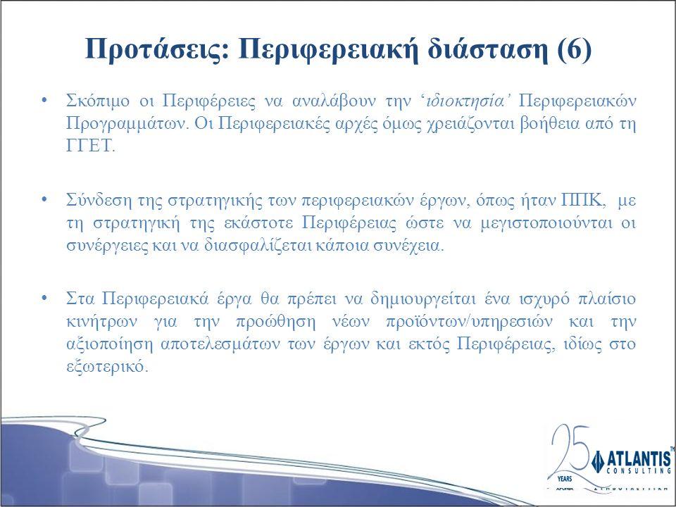 Προτάσεις: Περιφερειακή διάσταση (6) Σκόπιμο οι Περιφέρειες να αναλάβουν την 'ιδιοκτησία' Περιφερειακών Προγραμμάτων.