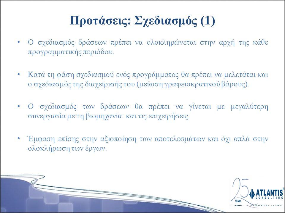 Προτάσεις: Σχεδιασμός (1) Ο σχεδιασμός δράσεων πρέπει να ολοκληρώνεται στην αρχή της κάθε προγραμματικής περιόδου.