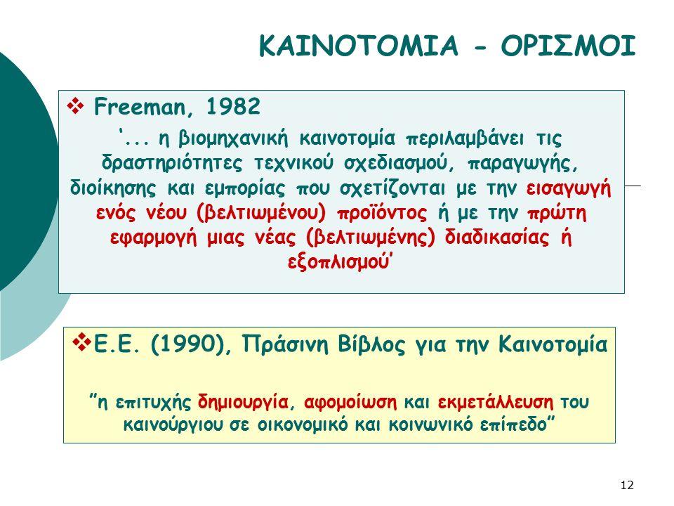 12 ΚΑΙΝΟΤΟΜΙΑ - ΟΡΙΣΜΟΙ  Freeman, 1982 '... η βιομηχανική καινοτομία περιλαμβάνει τις δραστηριότητες τεχνικού σχεδιασμού, παραγωγής, διοίκησης και εμ