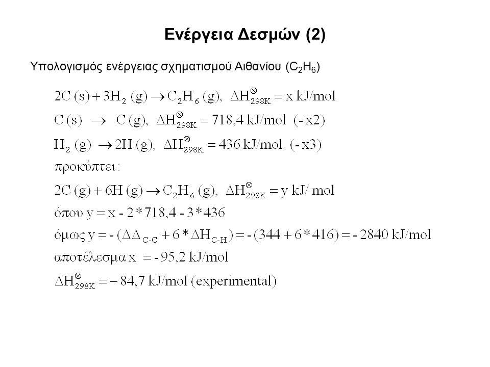 Ενέργεια Δεσμών (2) Υπολογισμός ενέργειας σχηματισμού Αιθανίου (C 2 H 6 )