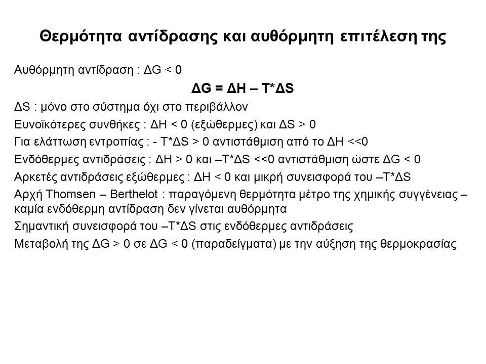 Θερμότητα αντίδρασης και αυθόρμητη επιτέλεση της Αυθόρμητη αντίδραση : ΔG < 0 ΔG = ΔH – T*ΔS ΔS : μόνο στο σύστημα όχι στο περιβάλλον Ευνοϊκότερες συνθήκες : ΔH 0 Για ελάττωση εντροπίας : - T*ΔS > 0 αντιστάθμιση από το ΔH <<0 Ενδόθερμες αντιδράσεις : ΔH > 0 και –T*ΔS <<0 αντιστάθμιση ώστε ΔG < 0 Αρκετές αντιδράσεις εξώθερμες : ΔH < 0 και μικρή συνεισφορά του –T*ΔS Αρχή Thomsen – Berthelot : παραγόμενη θερμότητα μέτρο της χημικής συγγένειας – καμία ενδόθερμη αντίδραση δεν γίνεται αυθόρμητα Σημαντική συνεισφορά του –T*ΔS στις ενδόθερμες αντιδράσεις Μεταβολή της ΔG > 0 σε ΔG < 0 (παραδείγματα) με την αύξηση της θερμοκρασίας