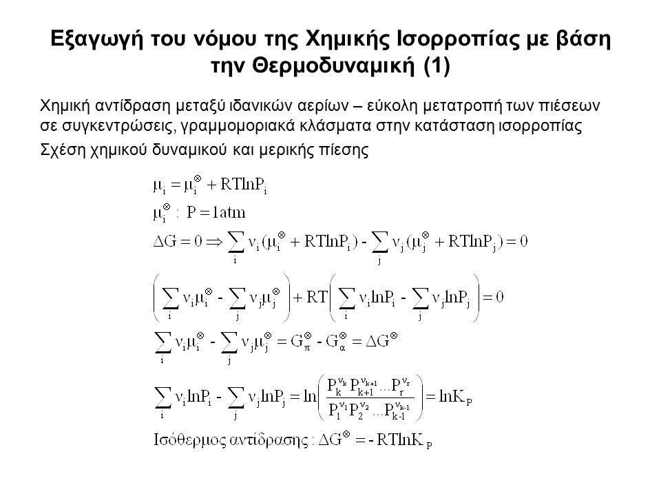 Εξαγωγή του νόμου της Χημικής Ισορροπίας με βάση την Θερμοδυναμική (1) Χημική αντίδραση μεταξύ ιδανικών αερίων – εύκολη μετατροπή των πιέσεων σε συγκεντρώσεις, γραμμομοριακά κλάσματα στην κατάσταση ισορροπίας Σχέση χημικού δυναμικού και μερικής πίεσης