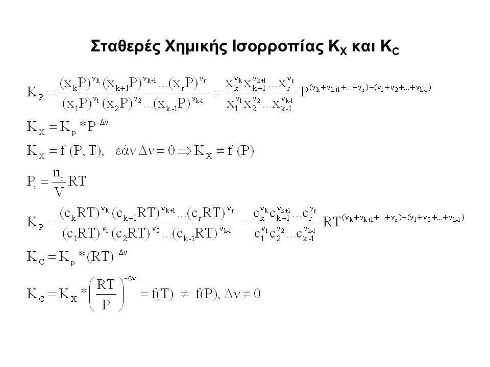 Σταθερές Χημικής Ισορροπίας K X και K C