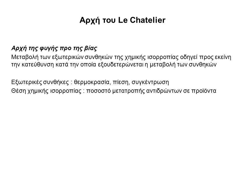 Αρχή του Le Chatelier Αρχή της φυγής προ της βίας Μεταβολή των εξωτερικών συνθηκών της χημικής ισορροπίας οδηγεί προς εκείνη την κατεύθυνση κατά την ο