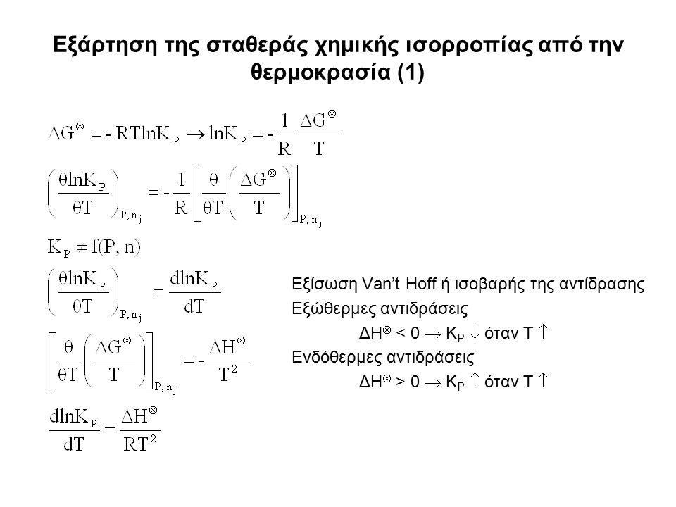 Εξάρτηση της σταθεράς χημικής ισορροπίας από την θερμοκρασία (1) Εξίσωση Van't Hoff ή ισοβαρής της αντίδρασης Εξώθερμες αντιδράσεις ΔΗ  < 0  K P  όταν T  Ενδόθερμες αντιδράσεις ΔΗ  > 0  K P  όταν T 
