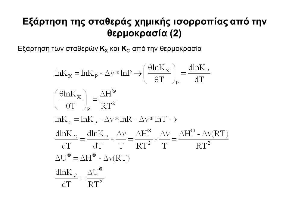 Εξάρτηση της σταθεράς χημικής ισορροπίας από την θερμοκρασία (2) Εξάρτηση των σταθερών K X και K C από την θερμοκρασία