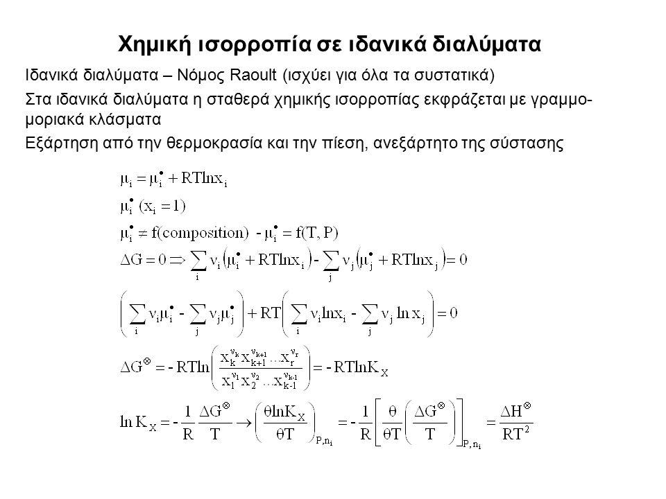Χημική ισορροπία σε ιδανικά διαλύματα Ιδανικά διαλύματα – Νόμος Raoult (ισχύει για όλα τα συστατικά) Στα ιδανικά διαλύματα η σταθερά χημικής ισορροπίας εκφράζεται με γραμμο- μοριακά κλάσματα Εξάρτηση από την θερμοκρασία και την πίεση, ανεξάρτητο της σύστασης