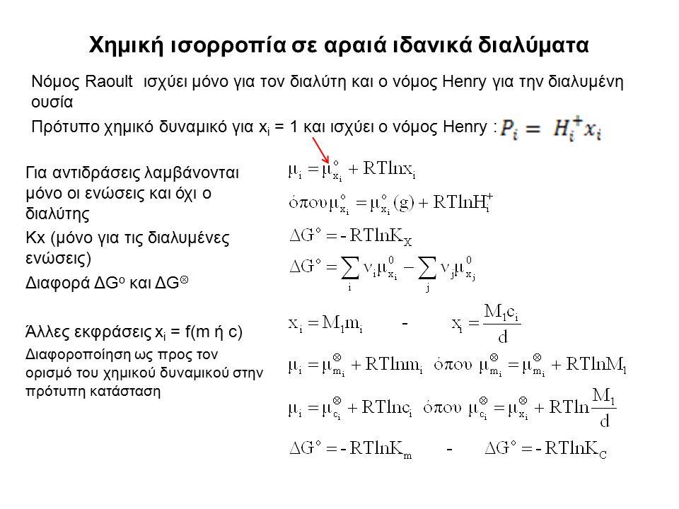 Χημική ισορροπία σε αραιά ιδανικά διαλύματα Νόμος Raoult ισχύει μόνο για τον διαλύτη και ο νόμος Henry για την διαλυμένη ουσία Πρότυπο χημικό δυναμικό για x i = 1 και ισχύει ο νόμος Henry : Για αντιδράσεις λαμβάνονται μόνο οι ενώσεις και όχι ο διαλύτης Κx (μόνο για τις διαλυμένες ενώσεις) Διαφορά ΔG o και ΔG  Άλλες εκφράσεις x i = f(m ή c) Διαφοροποίηση ως προς τον ορισμό του χημικού δυναμικού στην πρότυπη κατάσταση