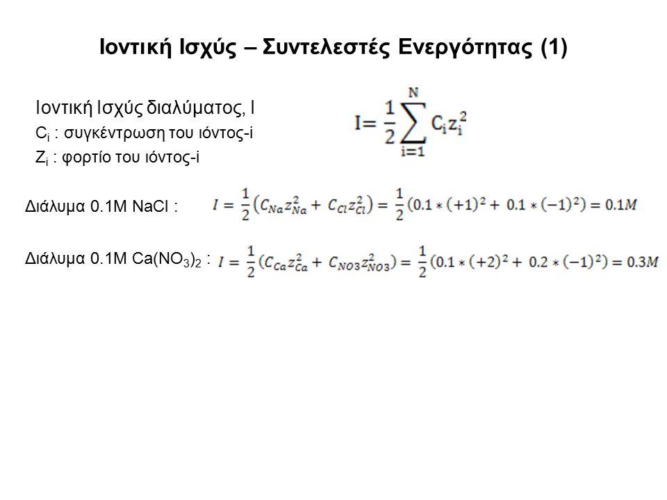 Ιοντική Ισχύς – Συντελεστές Ενεργότητας (1) Ιοντική Ισχύς διαλύματος, Ι C i : συγκέντρωση του ιόντος-i Z i : φορτίο του ιόντος-i Διάλυμα 0.1Μ NaCl : Διάλυμα 0.1Μ Ca(NO 3 ) 2 :