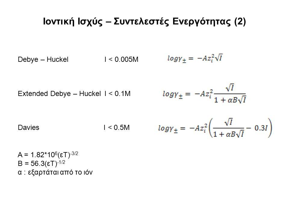 Ιοντική Ισχύς – Συντελεστές Ενεργότητας (2) Debye – Huckel I < 0.005M Extended Debye – Huckel I < 0.1M Davies I < 0.5M A = 1.82*10 6 (εT) -3/2 B = 56.3(εΤ) -1/2 α : εξαρτάται από το ιόν
