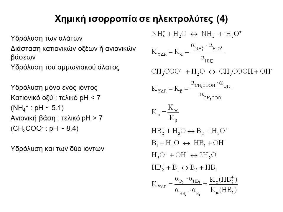 Χημική ισορροπία σε ηλεκτρολύτες (4) Υδρόλυση των αλάτων Διάσταση κατιονικών οξέων ή ανιονικών βάσεων Υδρόλυση του αμμωνιακού άλατος Υδρόλυση μόνο ενός ιόντος Κατιονικό οξύ : τελικό pH < 7 (NH 4 + : pH ~ 5.1) Ανιονική βάση : τελικό pH > 7 (CH 3 COO - : pH ~ 8.4) Υδρόλυση και των δύο ιόντων