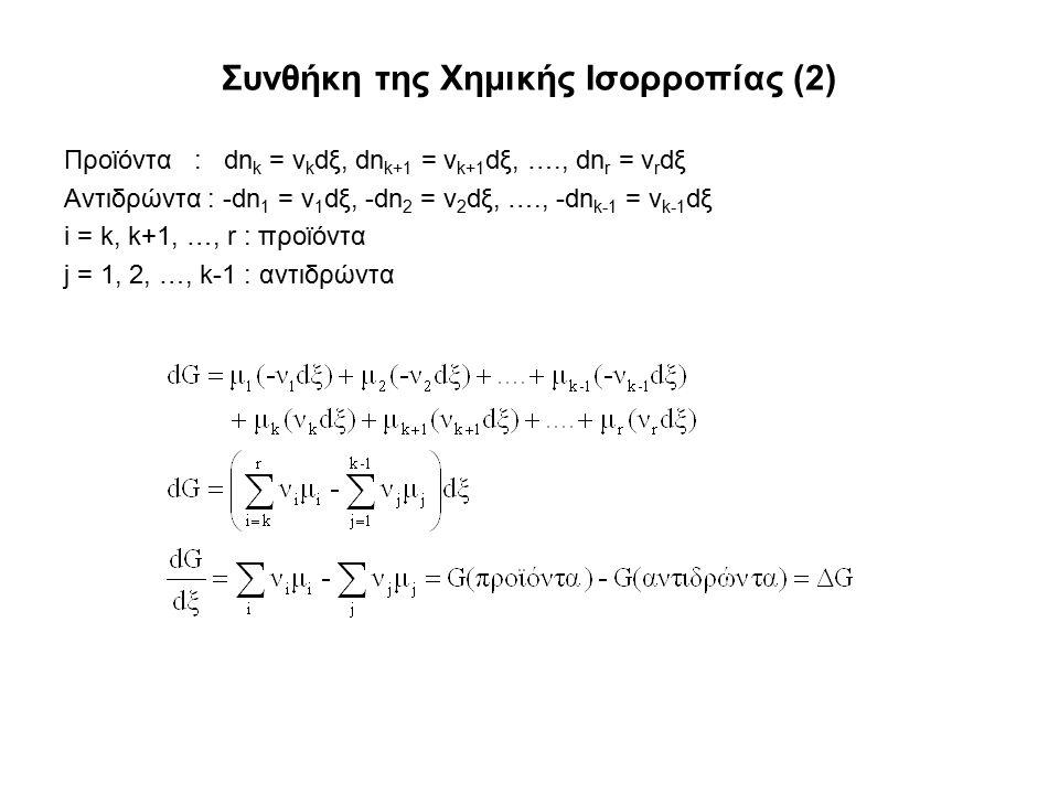 Συνθήκη της Χημικής Ισορροπίας (2) Προϊόντα : dn k = ν k dξ, dn k+1 = ν k+1 dξ, …., dn r = ν r dξ Αντιδρώντα : -dn 1 = ν 1 dξ, -dn 2 = ν 2 dξ, …., -dn k-1 = ν k-1 dξ i = k, k+1, …, r : προϊόντα j = 1, 2, …, k-1 : αντιδρώντα