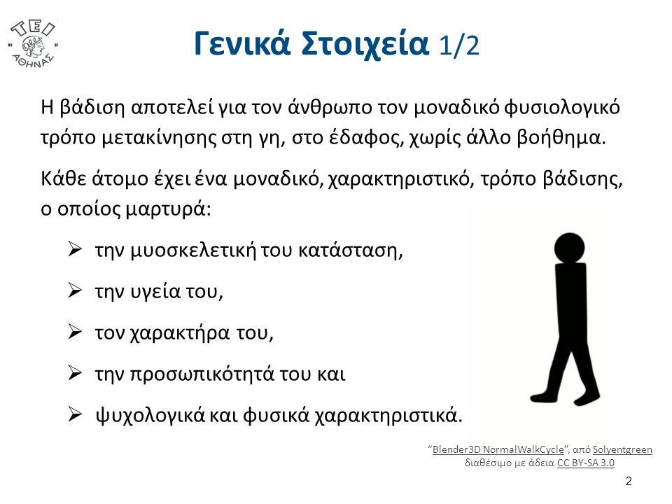 Γενικά Στοιχεία 1/2 Η βάδιση αποτελεί για τον άνθρωπο τον μοναδικό φυσιολογικό τρόπο μετακίνησης στη γη, στο έδαφος, χωρίς άλλο βοήθημα.