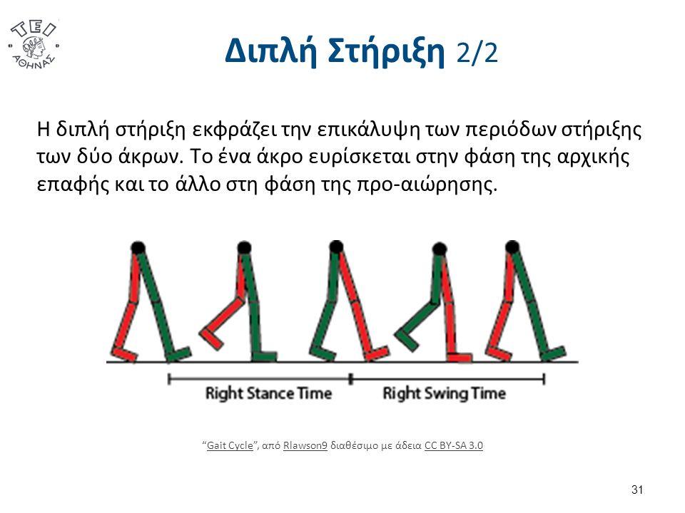 Διπλή Στήριξη 2/2 Η διπλή στήριξη εκφράζει την επικάλυψη των περιόδων στήριξης των δύο άκρων.
