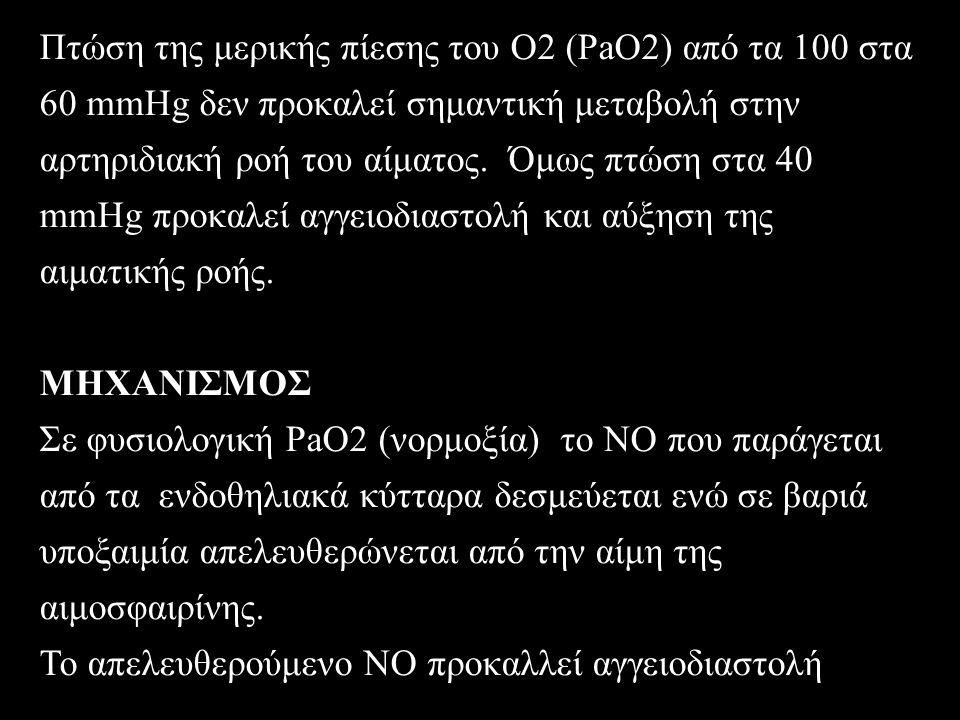Πτώση της μερικής πίεσης του Ο2 (PaO2) από τα 100 στα 60 mmHg δεν προκαλεί σημαντική μεταβολή στην αρτηριδιακή ροή του αίματος.