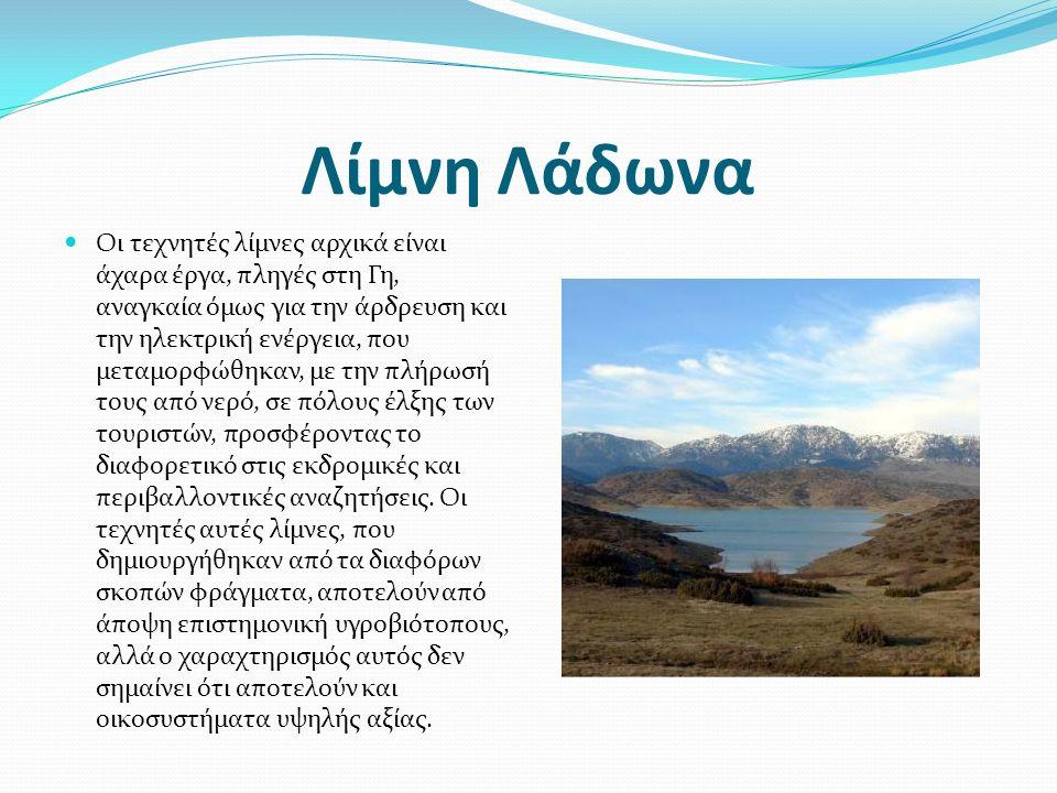 Λίμνη Λάδωνα Οι τεχνητές λίμνες αρχικά είναι άχαρα έργα, πληγές στη Γη, αναγκαία όμως για την άρδρευση και την ηλεκτρική ενέργεια, που μεταμορφώθηκαν, με την πλήρωσή τους από νερό, σε πόλους έλξης των τουριστών, προσφέροντας το διαφορετικό στις εκδρομικές και περιβαλλοντικές αναζητήσεις.