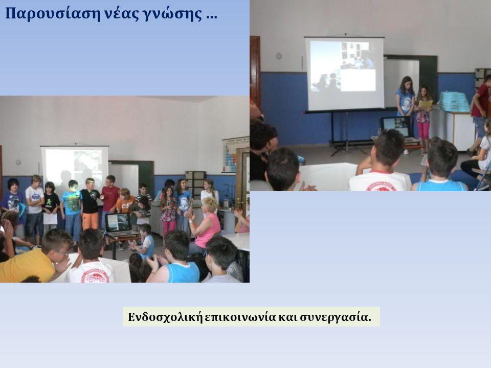 Παρουσίαση νέας γνώσης … Ενδοσχολική επικοινωνία και συνεργασία.