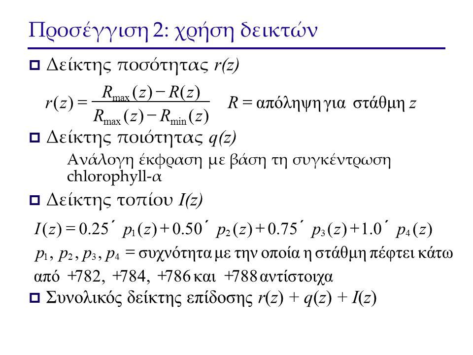 Προσέγγιση 2: χρήση δεικτών  Δείκτης ποσότητας r(z)  Δείκτης ποιότητας q(z) Ανάλογη έκφραση με βάση τη συγκέντρωση chlorophyll-α  Δείκτης τοπίου I(z)  Συνολικός δείκτης επίδοσης r(z) + q(z) + I(z) zR zRzR zRzR zr στάθμη γιααπόληψη )()( )()( )( minmax     αντίστοιχα 788 και786 784, 782,από τω πέφτει κάστάθμη η οποία τηνμε συχνότητα,,, )(0.1)(75.0)(50.0)(25.0)( 4321 4321       pppp zpzpzpzpzI