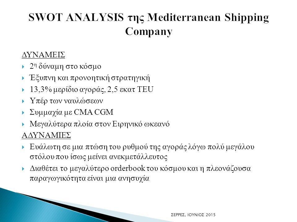 ΔΥΝΑΜΕΙΣ  2 η δύναμη στο κόσμο  Έξυπνη και προνοητική στρατηγική  13,3% μερίδιο αγοράς, 2,5 εκατ TEU  Υπέρ των ναυλώσεων  Συμμαχία με CMA CGM  Μ