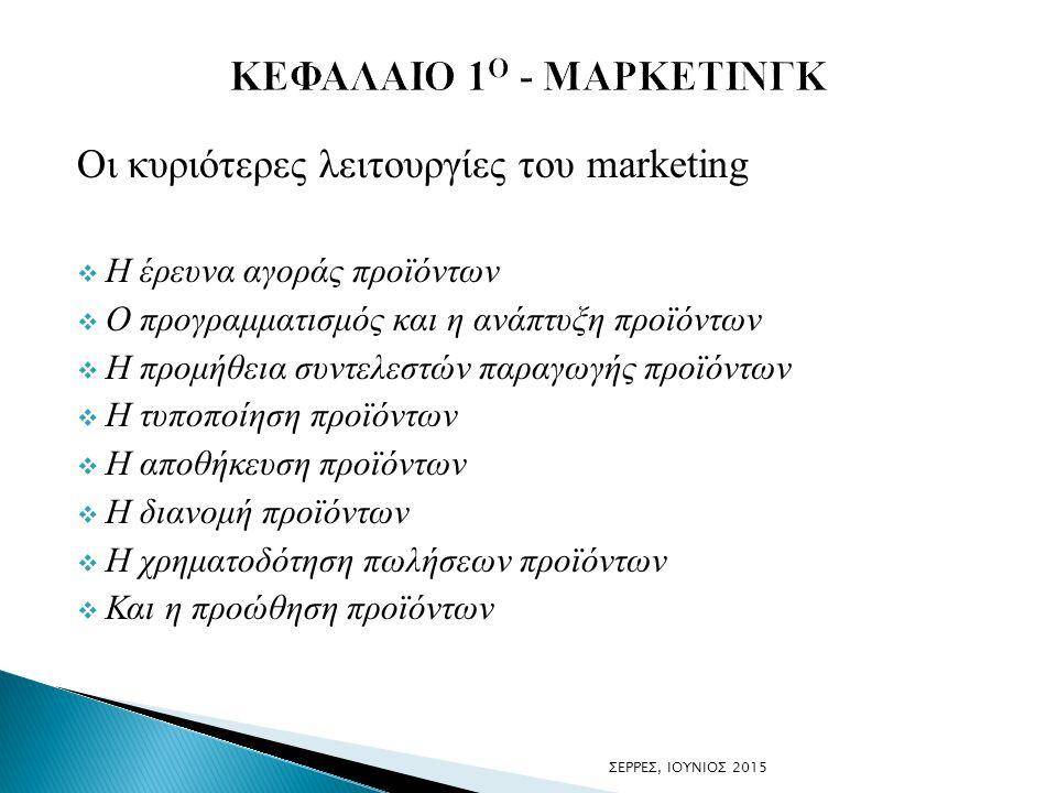 Οι κυριότερες λειτουργίες του marketing  H έρευνα αγοράς προϊόντων  Ο προγραμματισμός και η ανάπτυξη προϊόντων  Η προμήθεια συντελεστών παραγωγής π