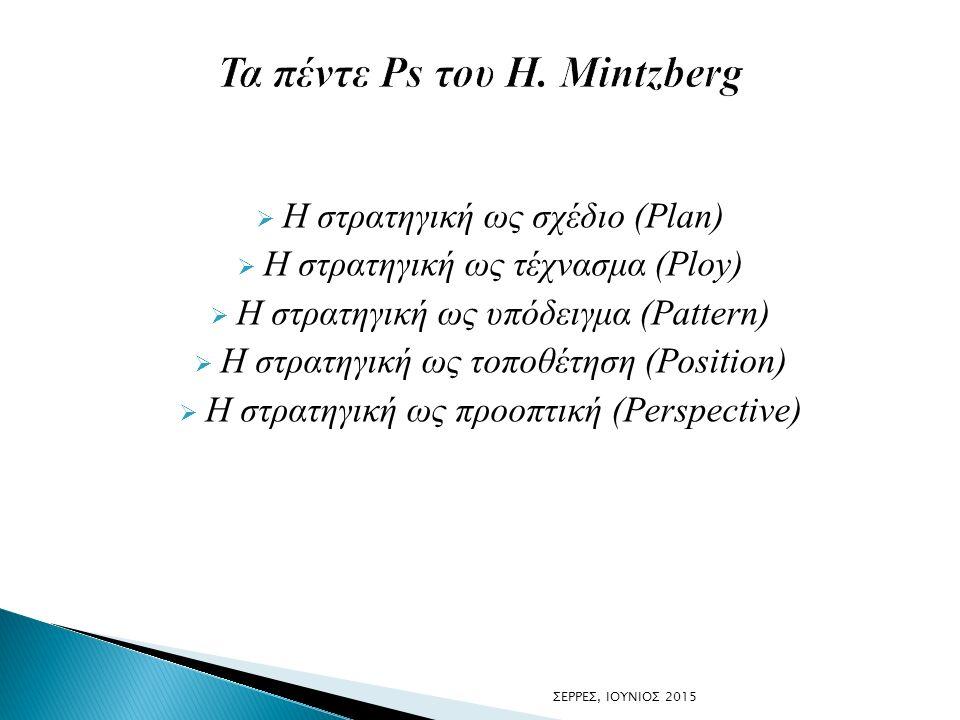  Η στρατηγική ως σχέδιο (Plan)  Η στρατηγική ως τέχνασμα (Ploy)  Η στρατηγική ως υπόδειγμα (Pattern)  Η στρατηγική ως τοποθέτηση (Position)  Η στ