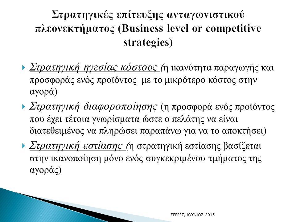  Στρατηγική ηγεσίας κόστους (η ικανότητα παραγωγής και προσφοράς ενός προϊόντος με το μικρότερο κόστος στην αγορά)  Στρατηγική διαφοροποίησης (η προσφορά ενός προϊόντος που έχει τέτοια γνωρίσματα ώστε ο πελάτης να είναι διατεθειμένος να πληρώσει παραπάνω για να το αποκτήσει)  Στρατηγική εστίασης (η στρατηγική εστίασης βασίζεται στην ικανοποίηση μόνο ενός συγκεκριμένου τμήματος της αγοράς) ΣΕΡΡΕΣ, ΙΟΥΝΙΟΣ 2015