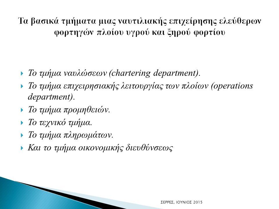  Το τμήμα ναυλώσεων (chartering department).
