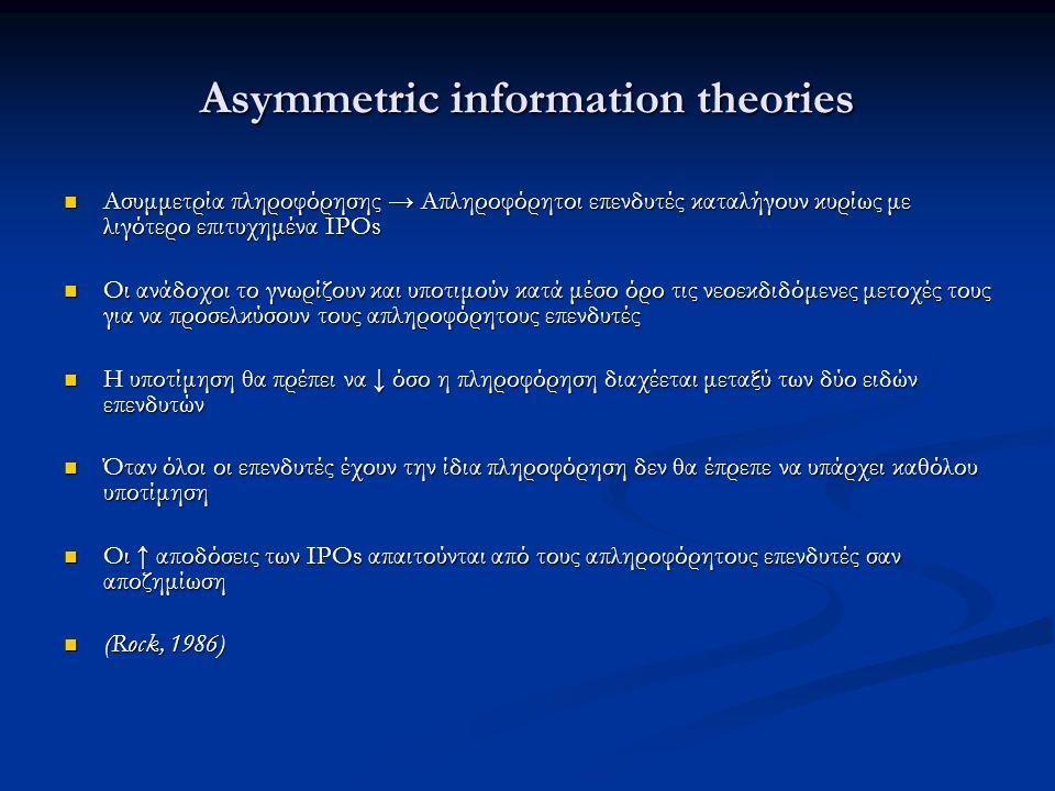 Asymmetric information theories Ασυμμετρία πληροφόρησης → Απληροφόρητοι επενδυτές καταλήγουν κυρίως με λιγότερο επιτυχημένα IPOs Ασυμμετρία πληροφόρησης → Απληροφόρητοι επενδυτές καταλήγουν κυρίως με λιγότερο επιτυχημένα IPOs Οι ανάδοχοι το γνωρίζουν και υποτιμούν κατά μέσο όρο τις νεοεκδιδόμενες μετοχές τους για να προσελκύσουν τους απληροφόρητους επενδυτές Οι ανάδοχοι το γνωρίζουν και υποτιμούν κατά μέσο όρο τις νεοεκδιδόμενες μετοχές τους για να προσελκύσουν τους απληροφόρητους επενδυτές Η υποτίμηση θα πρέπει να ↓ όσο η πληροφόρηση διαχέεται μεταξύ των δύο ειδών επενδυτών Η υποτίμηση θα πρέπει να ↓ όσο η πληροφόρηση διαχέεται μεταξύ των δύο ειδών επενδυτών Όταν όλοι οι επενδυτές έχουν την ίδια πληροφόρηση δεν θα έπρεπε να υπάρχει καθόλου υποτίμηση Όταν όλοι οι επενδυτές έχουν την ίδια πληροφόρηση δεν θα έπρεπε να υπάρχει καθόλου υποτίμηση Οι ↑ αποδόσεις των IPOs απαιτούνται από τους απληροφόρητους επενδυτές σαν αποζημίωση Οι ↑ αποδόσεις των IPOs απαιτούνται από τους απληροφόρητους επενδυτές σαν αποζημίωση (Rock, 1986) (Rock, 1986)