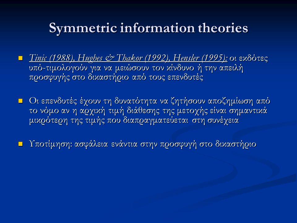 Symmetric information theories Tinic (1988), Hughes & Thakor (1992), Hensler (1995): οι εκδότες υπό-τιμολογούν για να μειώσουν τον κίνδυνο ή την απειλή προσφυγής στο δικαστήριο από τους επενδυτές Tinic (1988), Hughes & Thakor (1992), Hensler (1995): οι εκδότες υπό-τιμολογούν για να μειώσουν τον κίνδυνο ή την απειλή προσφυγής στο δικαστήριο από τους επενδυτές Οι επενδυτές έχουν τη δυνατότητα να ζητήσουν αποζημίωση από το νόμο αν η αρχική τιμή διάθεσης της μετοχής είναι σημαντικά μικρότερη της τιμής που διαπραγματεύεται στη συνέχεια Οι επενδυτές έχουν τη δυνατότητα να ζητήσουν αποζημίωση από το νόμο αν η αρχική τιμή διάθεσης της μετοχής είναι σημαντικά μικρότερη της τιμής που διαπραγματεύεται στη συνέχεια Υποτίμηση: ασφάλεια ενάντια στην προσφυγή στο δικαστήριο Υποτίμηση: ασφάλεια ενάντια στην προσφυγή στο δικαστήριο