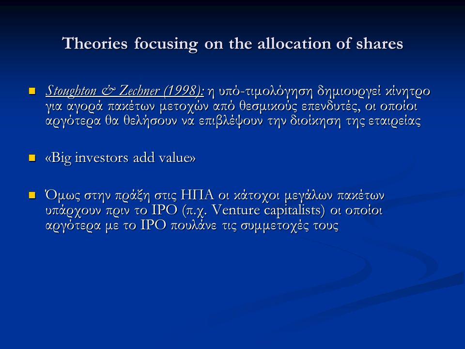 Theories focusing on the allocation of shares Stoughton & Zechner (1998): η υπό-τιμολόγηση δημιουργεί κίνητρο για αγορά πακέτων μετοχών από θεσμικούς επενδυτές, οι οποίοι αργότερα θα θελήσουν να επιβλέψουν την διοίκηση της εταιρείας Stoughton & Zechner (1998): η υπό-τιμολόγηση δημιουργεί κίνητρο για αγορά πακέτων μετοχών από θεσμικούς επενδυτές, οι οποίοι αργότερα θα θελήσουν να επιβλέψουν την διοίκηση της εταιρείας «Big investors add value» «Big investors add value» Όμως στην πράξη στις ΗΠΑ οι κάτοχοι μεγάλων πακέτων υπάρχουν πριν το ΙΡΟ (π.χ.
