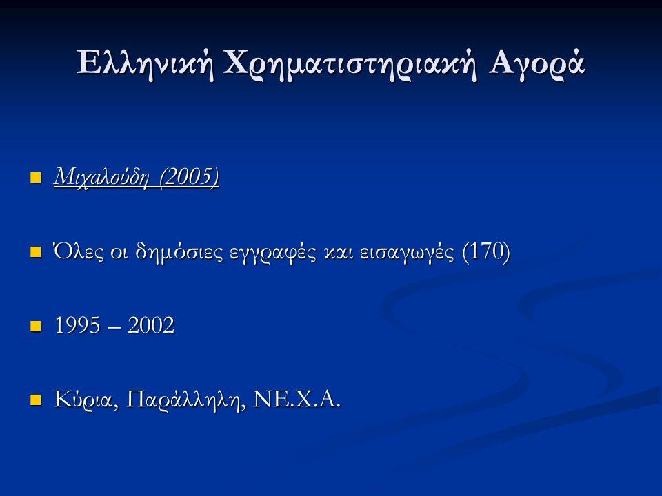 Ελληνική Χρηματιστηριακή Αγορά Μιχαλούδη (2005) Μιχαλούδη (2005) Όλες οι δημόσιες εγγραφές και εισαγωγές (170) Όλες οι δημόσιες εγγραφές και εισαγωγές (170) 1995 – 2002 1995 – 2002 Κύρια, Παράλληλη, ΝΕ.Χ.Α.
