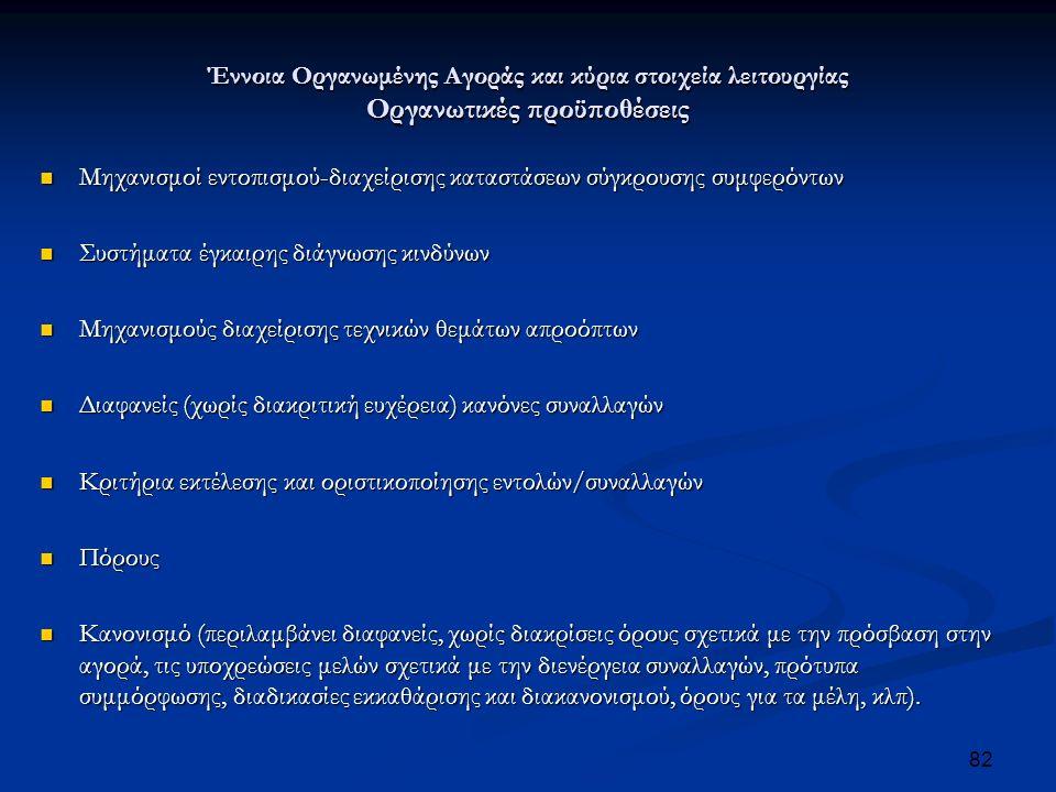 Έννοια Οργανωμένης Αγοράς και κύρια στοιχεία λειτουργίας Οργανωτικές προϋποθέσεις Μηχανισμοί εντοπισμού-διαχείρισης καταστάσεων σύγκρουσης συμφερόντων Μηχανισμοί εντοπισμού-διαχείρισης καταστάσεων σύγκρουσης συμφερόντων Συστήματα έγκαιρης διάγνωσης κινδύνων Συστήματα έγκαιρης διάγνωσης κινδύνων Μηχανισμούς διαχείρισης τεχνικών θεμάτων απροόπτων Μηχανισμούς διαχείρισης τεχνικών θεμάτων απροόπτων Διαφανείς (χωρίς διακριτική ευχέρεια) κανόνες συναλλαγών Διαφανείς (χωρίς διακριτική ευχέρεια) κανόνες συναλλαγών Κριτήρια εκτέλεσης και οριστικοποίησης εντολών/συναλλαγών Κριτήρια εκτέλεσης και οριστικοποίησης εντολών/συναλλαγών Πόρους Πόρους Κανονισμό (περιλαμβάνει διαφανείς, χωρίς διακρίσεις όρους σχετικά με την πρόσβαση στην αγορά, τις υποχρεώσεις μελών σχετικά με την διενέργεια συναλλαγών, πρότυπα συμμόρφωσης, διαδικασίες εκκαθάρισης και διακανονισμού, όρους για τα μέλη, κλπ).