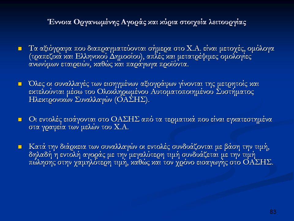 Έννοια Οργανωμένης Αγοράς και κύρια στοιχεία λειτουργίας Τα αξιόγραφα που διαπραγματεύονται σήμερα στο Χ.Α.