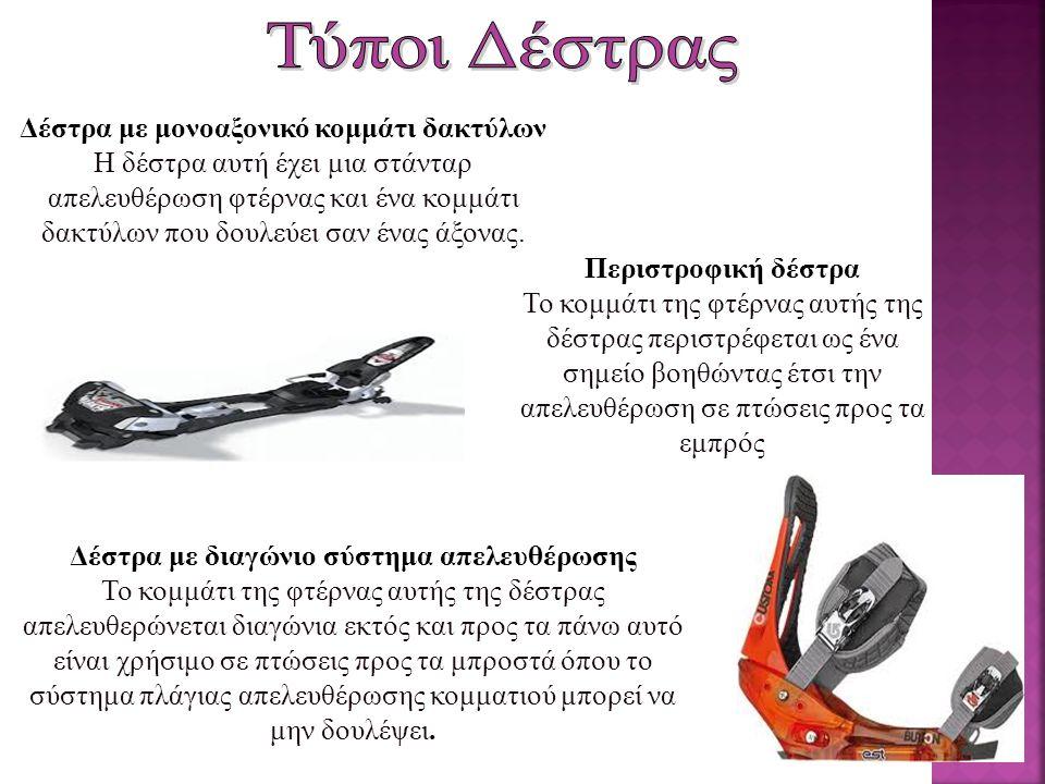  Τα μπαστούνια χρησιμοποιούνται στη στήριξη, βοηθούν στην ισορροπία και κατά την εκτέλεση της στροφής βοηθούν στη μεταφορά του βάρους από το ένα χιονοπέδιλο στο άλλο.